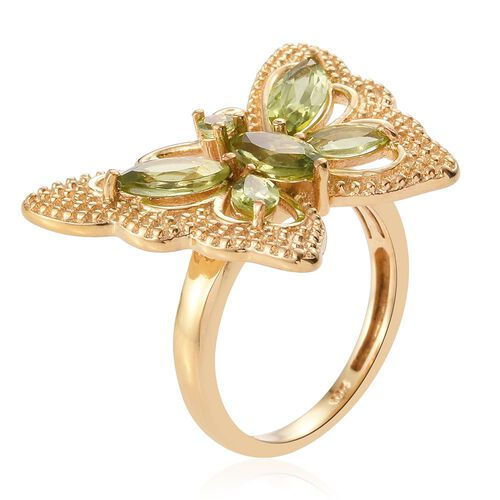 Hebei Peridot (Mrq) Butterfly Ring in 14K Gold Overlay Sterling Silver 2.250 Ct.