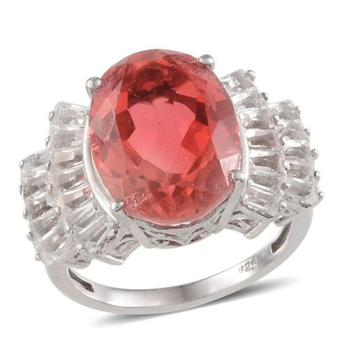 Padparadscha Colour Quartz (Ovl 9.00 Ct), White Topaz Ring in Platinum Overlay Sterling Silver 11.250 Ct.