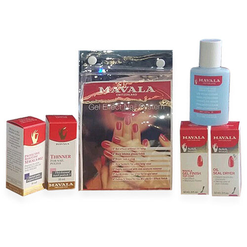 MAVALA - Gel effect nail system- Mavala Base 002 10ml,Thinner 10ml, Gel  Finish Top Coat 10ml,Oil Seal Dryer 10ml and Nail Polish Remover 50ml