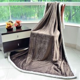 Brand New - Superfine Microfibre Chocolate and White Reversible Double Layer Sherpa Blanket (Size 200X150 Cm)