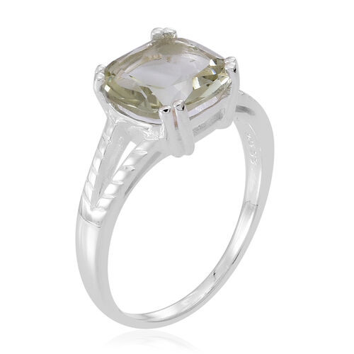 Green Amethyst (Cush) Solitaire Ring in Sterling Silver 3.500 Ct.