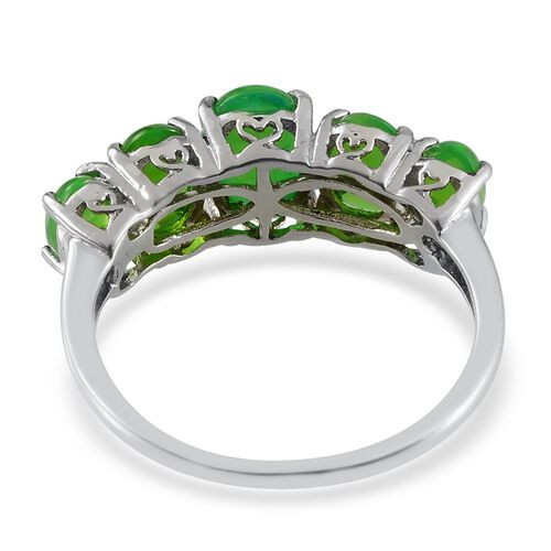 Green Ethiopian Opal (Ovl 1.00 Ct) 5 Stone Ring in Platinum Overlay Sterling Silver 3.000 Ct.
