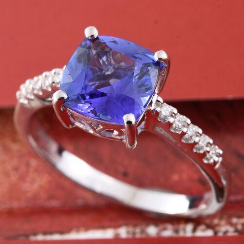 ILIANA 2.25 Ct AAA Tanzanite and Diamond (SI G-H) Ring in 18K White Gold
