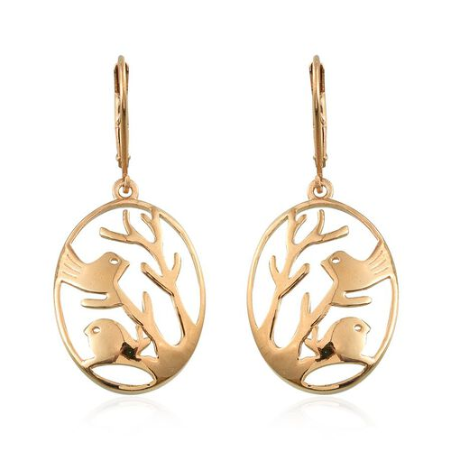 14K Gold Overlay Sterling Silver Perching Birds Lever Back Earrings, Silver wt 5.14 Gms.