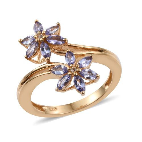 Tanzanite (Mrq), White Topaz Twin Floral Crossover Ring in 14K Gold Overlay Sterling Silver 1.050 Ct.