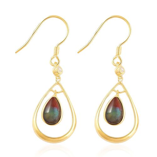 AA Canadian Ammolite (Pear), White Zircon Drop Hook Earrings in Yellow Gold Overlay Sterling Silver 1.850 Ct.