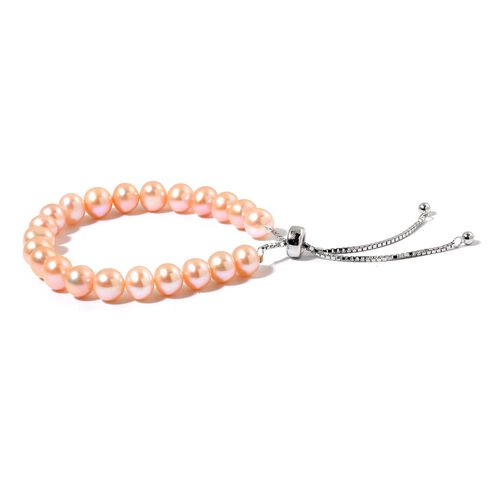 Designer Inspired AAA Fresh Water Peach Pearl Adjustable Bracelet (Size 6 to 8) in Rhodium Plated Sterling Silver