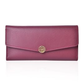 Designer Inspired Burgundy Colour Ladies Wallet with Multiple Card Slots (Size 19X10X1 Cm)