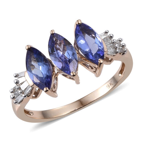 9K Y Gold Tanzanite (Mrq), Diamond Ring 1.650 Ct.