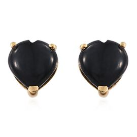 Black Onyx (Hrt) Stud Earrings (with Push Back) in 14K Gold Overlay Sterling Silver 6.500 Ct.