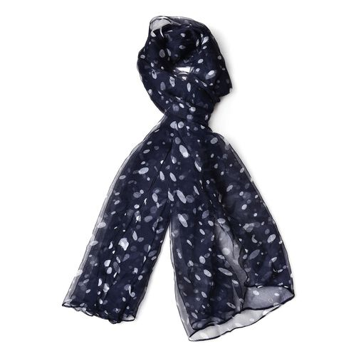 40% Mulberry Silk Black and White Colour Polka Dots Pattern Scarf (Size 170X105 Cm)