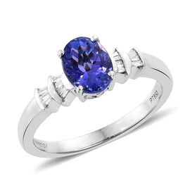 RHAPSODY 950 Platinum 1.50 Carat AAAA Tanzanite Ring with Diamond (VS/E-F)