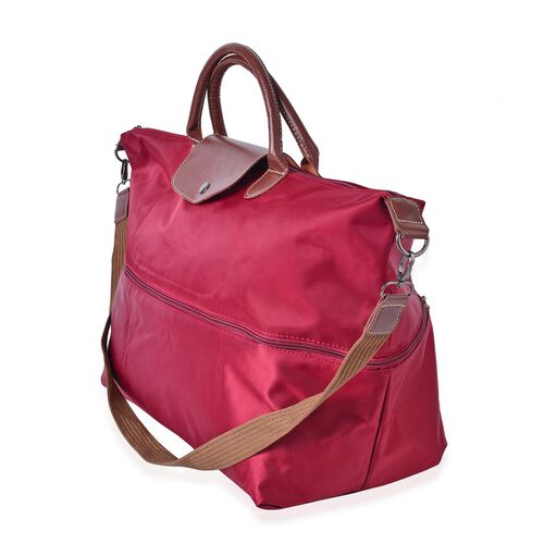 Designer Inspired - Wine Colour Foldable Travel Bag with Shoulder Strap (Size 58X50X40X33 Cm)