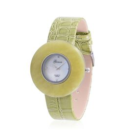 GENOA Japanese Movement Enhanced Quartzite and White Austrian Crystal Studded Water Resistant Watch in Silver Tone With Stainless Steel Back and Lemon Green Strap