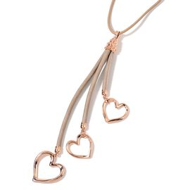 Triple Heart Necklace (Size 28 with 2 inch Extender) in Rose Gold Tone