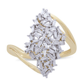 Designer Inspired-  9K Yellow Gold Fire Cracker Diamond (Bgt) (I1-I2)  Ring 0.500 Ct.