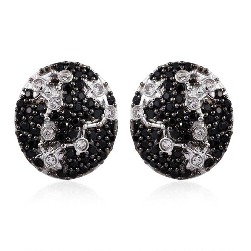 Night Sky Boi Ploi Black Spinel, White Topaz Stud Silver Earrings in Platinum Overlay 3.250 Ct.