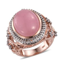 Pink Jade (Ovl 12.85 Ct), Natural Cambodian Zircon Ring in Rose Gold Overlay Sterling Silver 13.250 Ct.