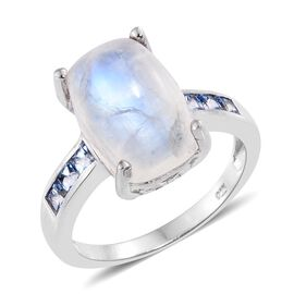 Sri Lankan Rainbow Moonstone (Cush 7.75 Ct), Signity Sum Blue Topaz Ring in Platinum Overlay Sterling Silver 8.250 Ct.