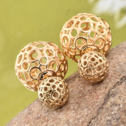 Designer Inspired - 14K Gold Overlay Sterling Silver Front and Back Stud Earrings (with Push Back)