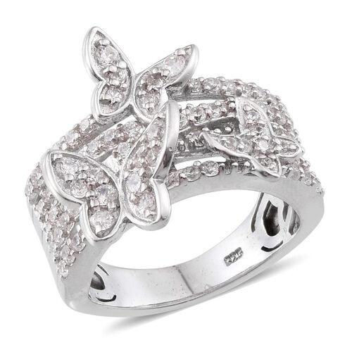 Simulated Diamond (Rnd) Butterfly Ring in Platinum Overlay Sterling Silver 2.100 Ct.