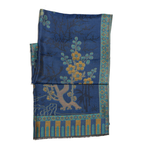 Blue, Beige and Multi Colour Floral and Tree Branch Pattern Scarf with Fringes (Size 190X70 Cm)