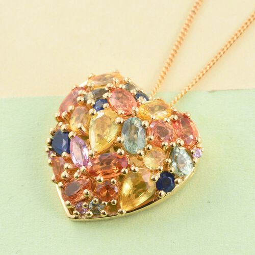 AAA Orange Sapphire (Ovl), Yellow Sapphire, Green Sapphire, Kanchanaburi Blue Sapphire and Multi Gemstone Heart Pendant With Chain (Size 30) in 14K Gold Overlay Sterling Silver 5.00 Ct.