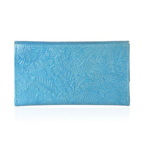 Genuine Leather Floral Embossed Batik Print Blue Colour Wallet (Size 18x10 Cm)