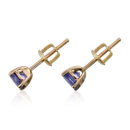 ILIANA 18K Y Gold AAA Tanzanite (Rnd) Stud Earrings (with Screw Back) 1.000 Ct.