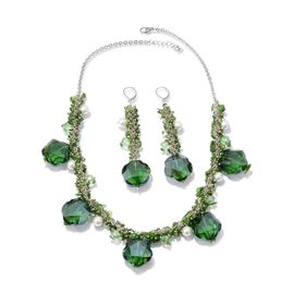 Jewels of India Russian Diopside, Glass and Glass Pearl Necklace (Size 20) and Lever Back Earrings in Silver Tone 284.170 Ct.