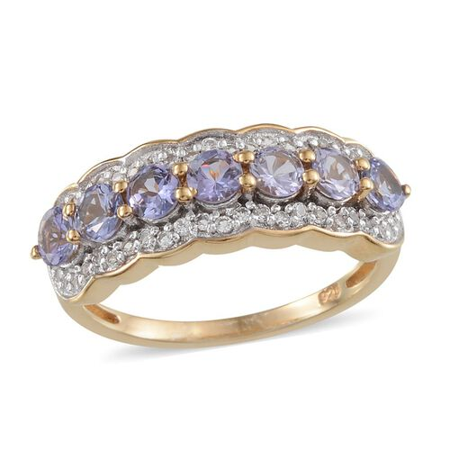 Tanzanite (Rnd), White Topaz Ring in 14K Gold Overlay Sterling Silver 1.500 Ct.