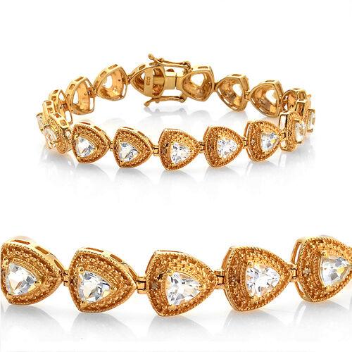 Espirito Santo Aquamarine (Trl), Diamond Bracelet in 14K Gold Overlay Sterling Silver (Size 7.5) 6.300 Ct.