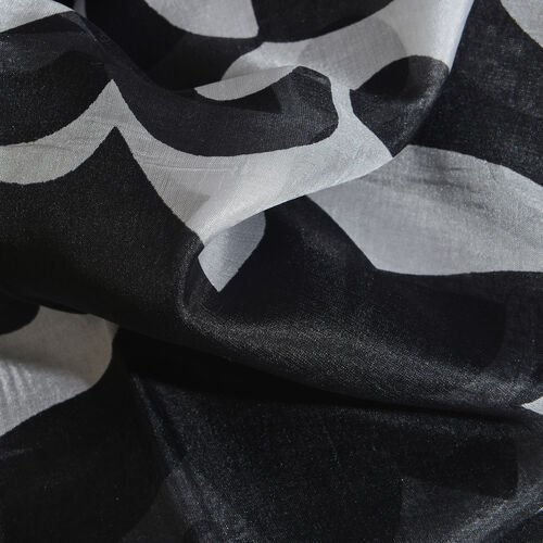 Close Out Deal - 100% Mulberry Silk Black, Grey and White Colour Hand Screen Floral Printed Scarf (Size 180x100 Cm)