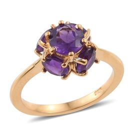 2.50 Carat Amethyst 5 Stone Ring in 14K Gold Overlay Sterling Silver