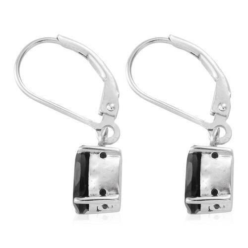 Boi Ploi Black Spinel (Ovl) Lever Back Earrings in Platinum Overlay Sterling Silver 3.000 Ct.