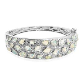 Designer Inspired-Ethiopian Welo Opal Natural Cambodian Zircon Cocktail Bangle (Size 7.5) in Platinum Overlay Sterling Silver 10.00 Ct. Silver wt. 42.00 Gms.