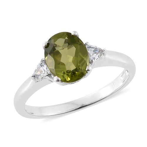 Hebei Peridot, Natural Cambodian Zircon 2.40 Ct Silver Ring in Platinum Overlay