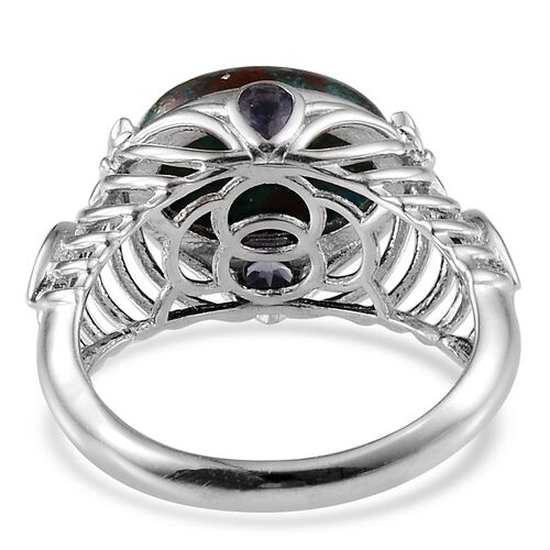 Table Mountain Shadowkite (Ovl 9.00 Ct), Iolite Ring in Platinum Overlay Sterling Silver 9.650 Ct. Silver wt. 5.10 Gms.