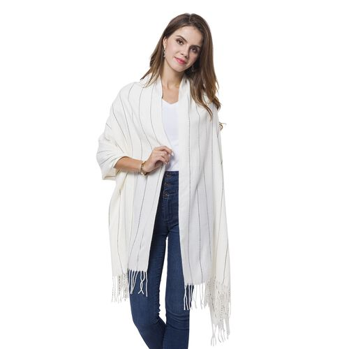 Italian Designer Inspired-Off White and Black Colour Stripes Pattern Scarf with Tassels (Size 190X65 Cm)