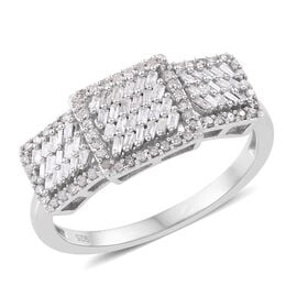 Designer Inspired - Fireworks Diamond (Bgt) Ring in Platinum Overlay Sterling Silver 0.500 Ct.