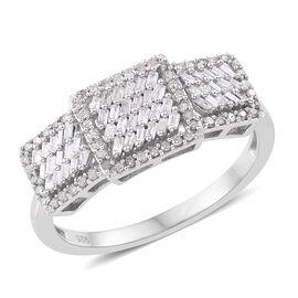 Designer Inspired Diamond (Bgt) Ring in Platinum Overlay Sterling Silver 0.500 Ct.