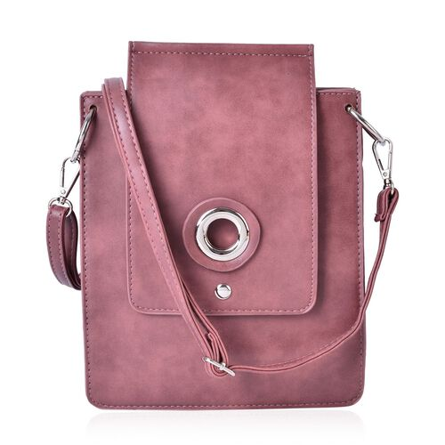 Pink Colour Crossbody Bag with Adjustable and Removable Shoulder Strap (Size 27x20x7 Cm)