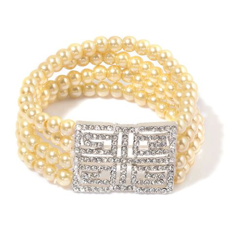 White Austrian Crystal and Golden Glass Pearl Necklace (Size 27 with 1 inch Extender) and Stretchable Bracelet (Size 7.50) in Silver Tone
