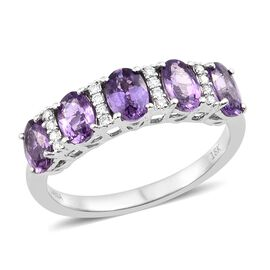 One Time Deal-ILIANA 18K White Gold UnHeated AAAA Natural Purple Sapphire (Ovl), Diamond (SI/G-H) Ring 2.750 Ct.