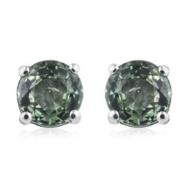ILIANA 18K White Gold 1.25 Ct AAA Green Sapphire Solitaire Stud Earrings (with Screw Back)