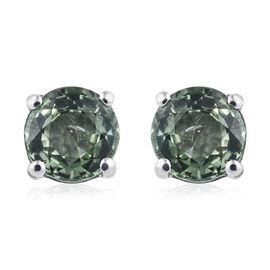 ILIANA 18K White Gold AAA Green Sapphire (Rnd) Stud Earrings (with Screw Back) 1.250 Ct.