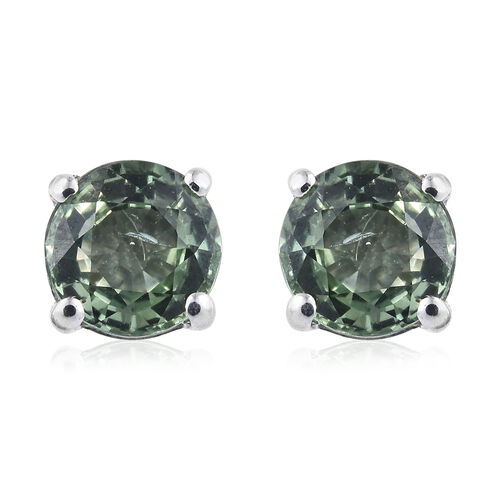 ILIANA 18K White Gold AAA Green Sapphire (Rnd) Stud Earrings (with Screw Back) 1.250 Ct.