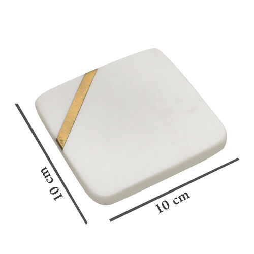 Home Decor - Stylish Set of 4 Natural Marble and Brass Coasters in White Colour (Size 10X10X1 Cm)
