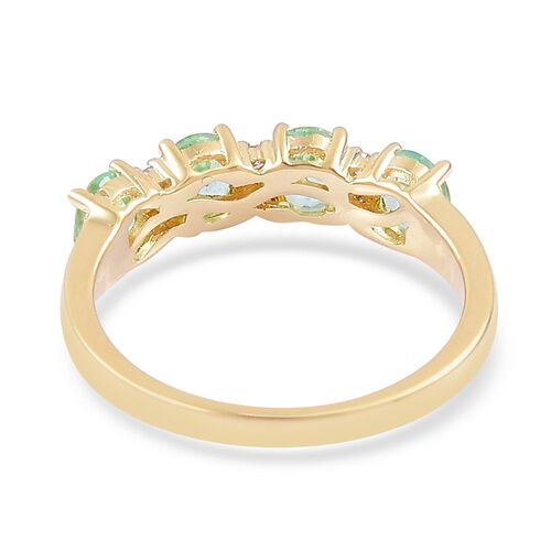 ILIANA 18K Yellow Gold AAA Boyaca Colombian Emerald (Ovl), Diamond (SI/G-H) Ring 1.500 Ct.