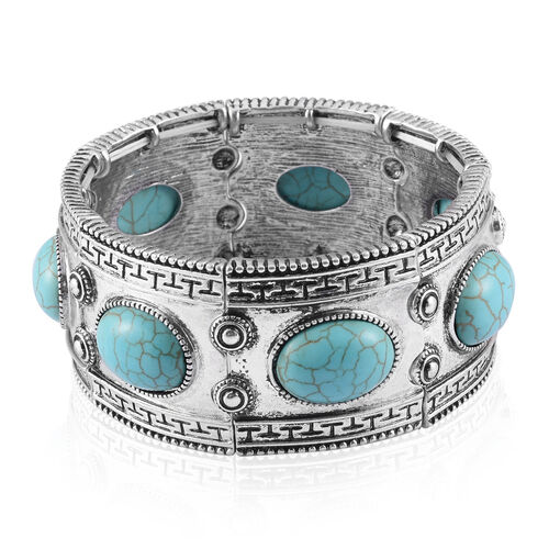 Balinese Style Green Howlite Bracelet in Silver Tone (Size 7) 10.000 Ct.